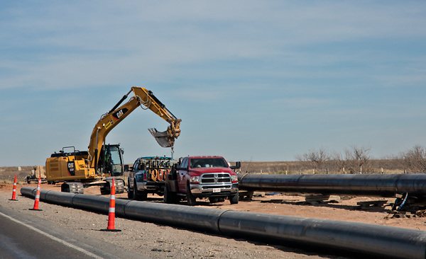 Pipeline construction in the Permain Basin.
