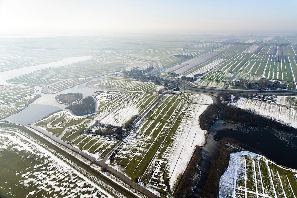 Nederland, Noord-Holland, gemeente Schermer, 28-10-2016; Nooreindermeerpolder en Eilandspolder, dorp Driehuizen. Winterlandschap.<br /> Small polders near Alkmaar, in the background polder Schermer. Winter Landscape.<br /> <br /> luchtfoto (toeslag op standard tarieven);<br /> aerial photo (additional fee required);<br /> copyright foto/photo Siebe Swart