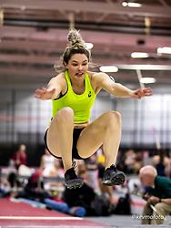 Harvard University<br /> Crimson Elite Indoor track & field meet<br /> asics, women long jump, winner , asics,