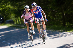 Tomaz Nose (SLO) of Adria Mobil and Mitja Mahoric  (SLO) of Radenska KD Financial point at 1st stage of Tour de Slovenie 2009 from Koper (SLO) to Villach (AUT),  229 km, on June 18 2009, in Koper, Slovenia. (Photo by Vid Ponikvar / Sportida)