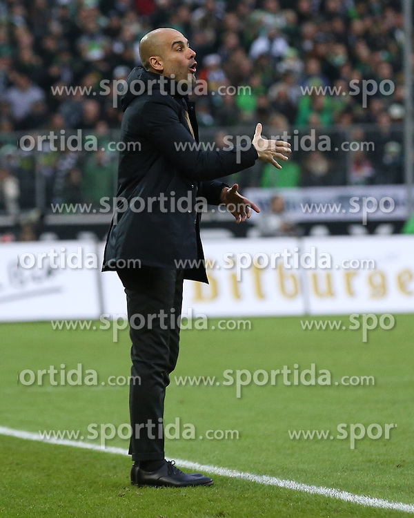 05.12.2015, Stadion im Borussia Park, Moenchengladbach, GER, 1. FBL, Borussia Moenchengladbach vs FC Bayern Muenchen, 15. Runde, im Bild Josep Guardiola (Trainer, FC Bayern Muenchen), // during the German Bundesliga 15th round match between Borussia Moenchengladbach and FC Bayern Muenchen at the Stadion im Borussia Park in Moenchengladbach, Germany on 2015/12/05. EXPA Pictures &copy; 2015, PhotoCredit: EXPA/ Eibner-Pressefoto/ Deutzmann<br /> <br /> *****ATTENTION - OUT of GER*****