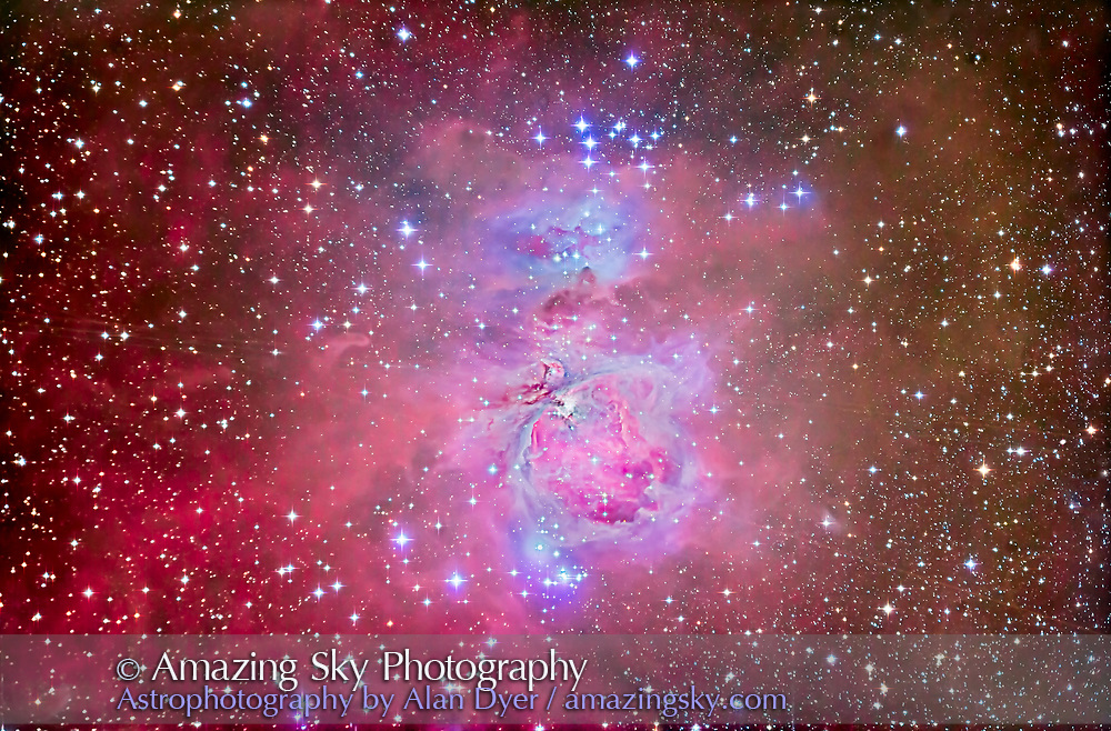 The Orion Nebula, M42 and M43, with surrounding associated nebula and star clusters, such as the Running Man Nebula above (NGC 1975) and blue star cluster above it, NGC 1981.<br /> <br /> This is one of the most often photographed but most challenging dee-sky objects to shoot, because of its huge range in brightess from the bright core to the outlying wisps of dim red nebulosity. Capturing it all in one frame requires a form of &ldquo;high-dynamic-range&rdquo; techniques: shooting several different exposures and manually stacking and masking them in Photoshop.<br /> <br /> I shot and processed this image for use as a demonstration and tutorial image for my Photoshop for Astronomy Workshops. This demonstrates the methods and result of masking several different exposures to retain details in the bright core while also bringing out the faintest outlying bits of nebulosity, compressing the dynamic range tremendously. <br /> <br /> All processing was done with Adobe Camera Raw and Photoshop CC 2014. Total processing time from Raw to final was about 3 hours.<br /> <br /> The image is made of:<br /> - 10 x 6 minute exposures, Median combined in a registered stack, at ISO 1250. The median stacking reduced, but did not completely eliminate, the satellite trails from geosatatonary satellites that were in almost every frame.<br /> - 5 x 1.5 minute exposures at ISO 1250 for the mid-level brightness areas, blended using Darken mode<br /> - 5 x 30 second exposures at ISO 800 for the bright core, blended using Darken mode<br /> - 5 x 30 second exposures at ISO 400 for the brightest part of the central core around the Trapezium stars, blended using Darken mode<br /> <br /> Shorter exposure layers were stacked and masked using a luminance mask: created by Command Clicking on the RGB Channel to select just the highlights of that exposure then using that selection to create a mask to reveal the core area and hide the rest.<br /> <br /> Additional top-level layers were added for enhanc