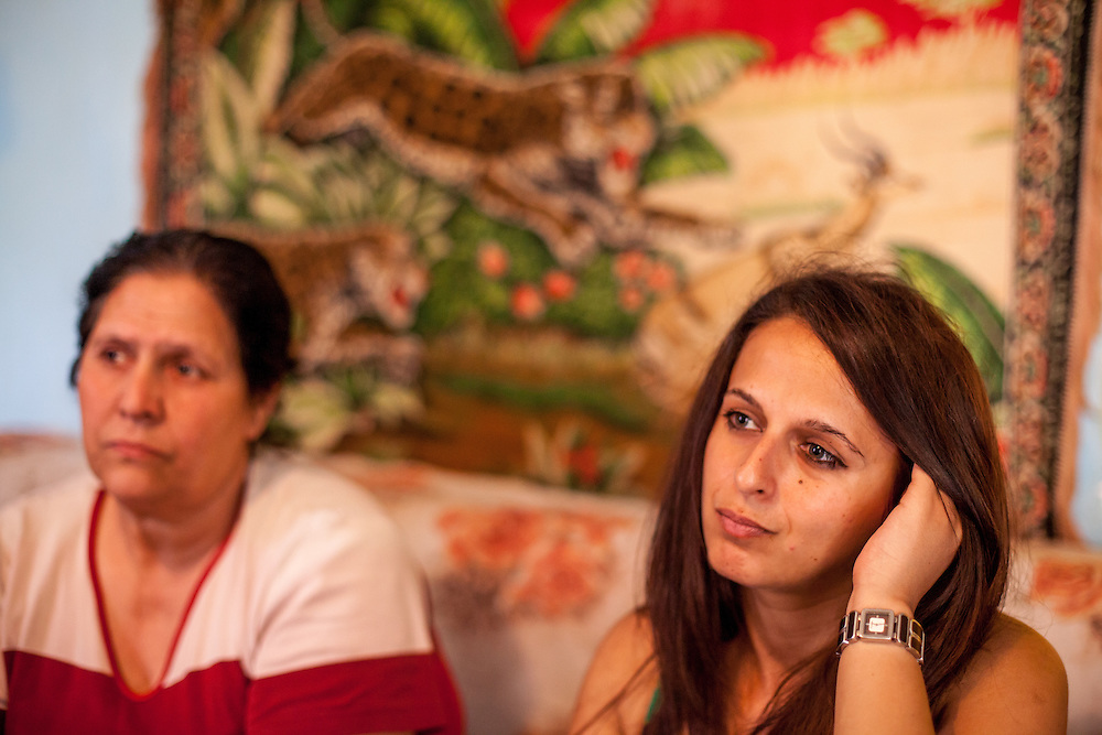 Paralegal Romina Kajtazova with mother Turkiana Ibraimovska during door to door activity in Delcevo. Daughter Guldzana is a brain cancer patient and needs help from  NGO Kham. Romina visits families, delivers brochures and putting up posters in the community to inform about health related issues and patients rights.