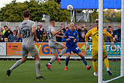 AFC Wimbledon striker Joe Pigott (39) heading ball back across goal during the EFL Sky Bet League 1 match between AFC Wimbledon and Portsmouth at the Cherry Red Records Stadium, Kingston, England on 19 October 2019.