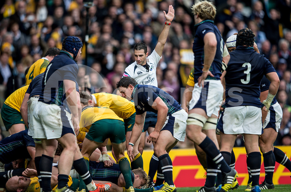 Referee Craig Joubert (South Africa) blows for the try as Michael Hooper of Australia goes over during the Rugby World Cup Quarter Final match between Australia and Scotland played at Twickenham Stadium, London on the 18th of October 2015. Photo by Liam McAvoy.