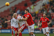 Sheffield United forward, on loan from Derby County, Conor Sammon  battles with Coventry City defender Aaron Martin  during the Sky Bet League 1 match between Sheffield Utd and Coventry City at Bramall Lane, Sheffield, England on 13 December 2015. Photo by Simon Davies.