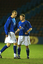 WIDNES, ENGLAND - Tuesday, March 11, 2003: Everton's Wayne Rooney and Duncan Ferguson in action for the reserves against West Brom Reserves in the Premier Reserve League (Northern Division) at the Halton Stadium. (Pic by David Rawcliffe/Propaganda)