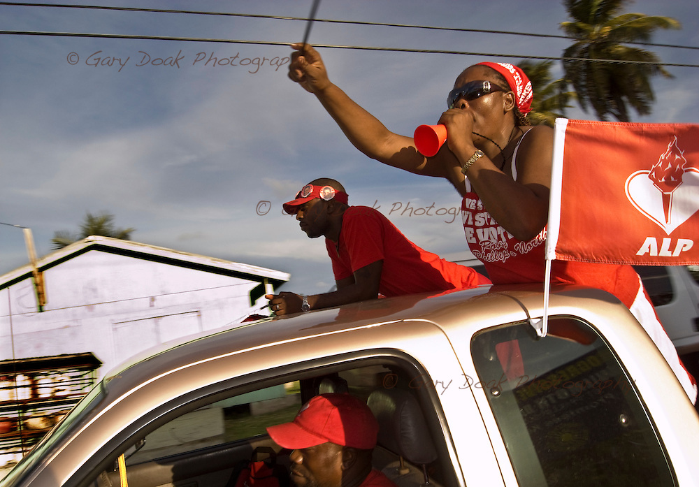 Antigua Labour Party supporters on their way to a party political rally, Antigua