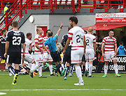 Hamilton Academical's Darian MacKinnon is red carded by referee Willie Collum - Hamilton Academical v Dundee, Ladbrokes Premiership at New Douglas Park<br /> <br /> <br />  - &copy; David Young - www.davidyoungphoto.co.uk - email: davidyoungphoto@gmail.com