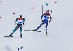 01.03.2019, Seefeld, AUT, FIS Weltmeisterschaften Ski Nordisch, Seefeld 2019, Langlauf, Herren, 4x10 km Staffel, im Bild v.l. Richard Jouve (FRA), Perttu Hyvarinen (FIN) // f.l. Richard Jouve of France and Perttu Hyvarinen of Finland during the men's cross country 4x10 km relay competition of FIS Nordic Ski World Championships 2019. Seefeld, Austria on 2019/03/01. EXPA Pictures © 2019, PhotoCredit: EXPA/ Stefan Adelsberger