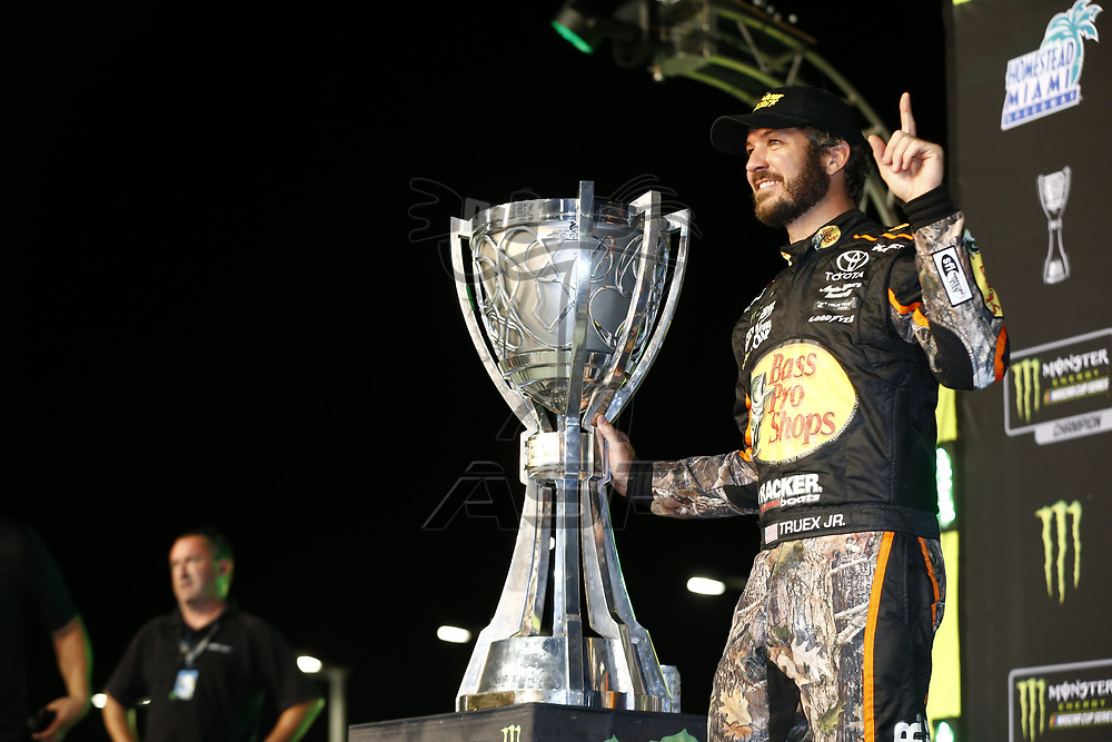 November 20, 2017 - Homestead, Florida, USA: Martin Truex Jr (78) wins the Monster Energy Nascar Cup Championship during Ford EcoBoost 400 at Homestead-Miami Speedway in Homestead, Florida.