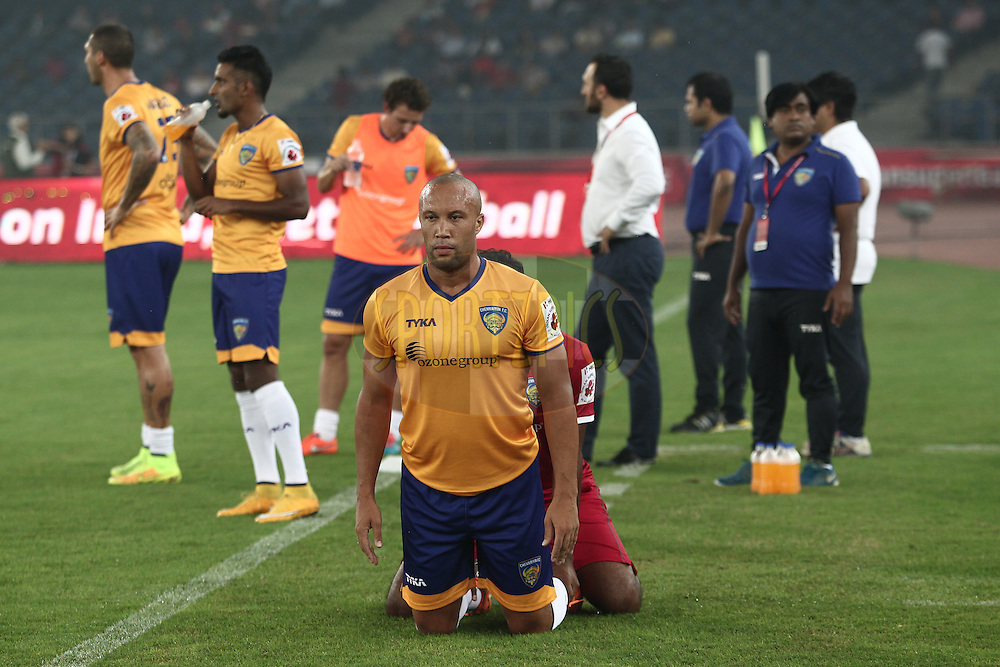 Mikael Silvestre of Chennaiyin FC before the match  match 12 of the Hero Indian Super League between The Delhi Dynamos FC and Chennaiyin FCheld at the Jawaharlal Nehru Stadium, Delhi, India on the 25th October 2014.<br /> <br /> Photo by:  Deepak Malik/ ISL/ SPORTZPICS