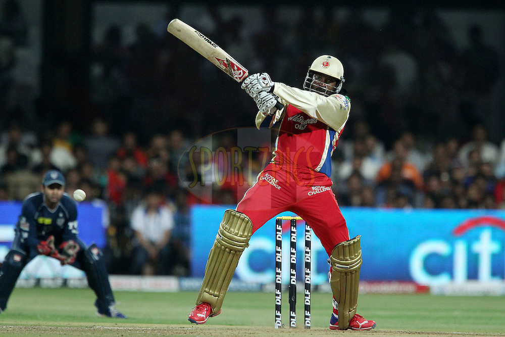 Chris Gayle during match 50 of the the Indian Premier League ( IPL) 2012  between The Royal Challengers Bangalore and the Deccan Chargers held at the M. Chinnaswamy Stadium, Bengaluru on the 6th May 2012..Photo by Ron Gaunt/IPL/SPORTZPICS