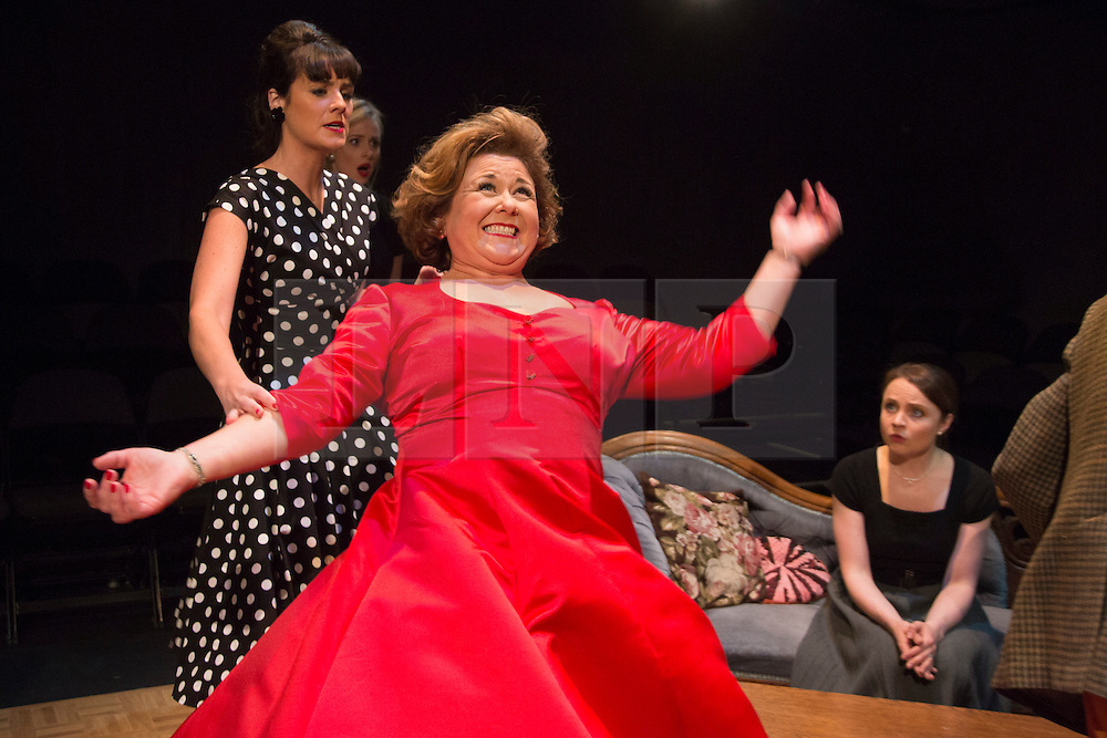 © Licensed to London News Pictures. 02/09/2015. London, UK. Fighting on stage with L-R: Danielle Flett, Diana Vickers, Wendi Peters and Vicky Binns. World premiere of Hatched 'n' Dispatched, a black comedy set on one evening in 1959, opens at the Park Theatre in Finsbury Park. Written by Gemma Page & Michael Kirk, directed by Michael Kirk, the comedy stars Wendi Peters, Diana Vickers and Vicky Binns. Running from 1 to 26 September 2016. Photo credit : Bettina Strenske/LNP