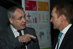 Pictured: Science Minister Richard Lochhead chats to Scottish Science Advisory Council Chair Professor Paul Boyle<br /> <br /> Science Minister Richard Lochhead, Scottish Science Advisory Council Chair Professor Paul Boyle and Scotland's Chief Scientific Adviser Professor Sheila Rowan spoke at the official launch of a major new report on Scottish science.  The report examines the scientific landscape in Scotland between 2007 and 2016 and compared how the Scottish science and research sector has performed against other similar sized countries.  A number of scientific research projects from research institutions across Scotland will also exhibited at the event.<br /> <br /> <br /> Ger Harley | EEm 23 January 2019