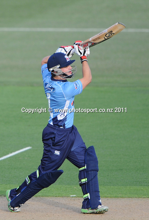 Auckland batsman Brad Cachopa in action during the HRV Twenty20 Cricket match between the Auckland Aces and Northern Knights at Colin Maiden Oval in Auckland on Monday 26 December 2011. Photo: Andrew Cornaga/Photosport.co.nz