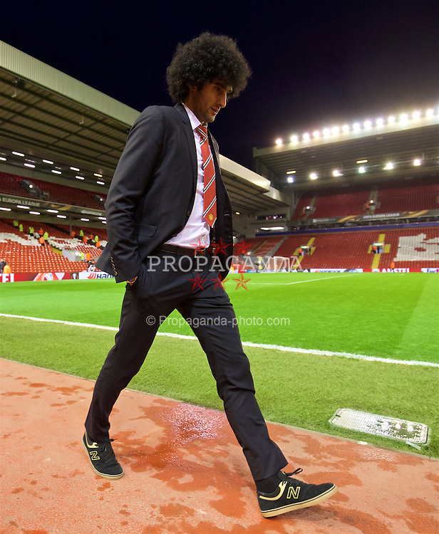 LIVERPOOL, ENGLAND - Thursday, March 10, 2016: Manchester United's Marouane Fellaini arrives ahead of the UEFA Europa League Round of 16 1st Leg match against Liverpool at Anfield. (Pic by David Rawcliffe/Propaganda)