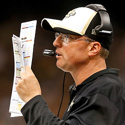 Aug 28, 2014; New Orleans, LA, USA; New Orleans Saints offensive coordinator Pete Carmichael during the first half of a preseason game against the Baltimore Ravens at Mercedes-Benz Superdome. Mandatory Credit: Derick E. Hingle-USA TODAY Sports