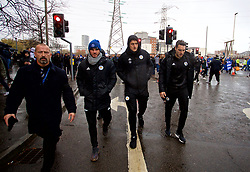 LEICESTER, ENGLAND - Saturday, November 10, 2018: Leicester City's Harry Maguire marches with supporters to the ground to pay tribute to the club's chairman Vichai Srivaddhanaprabha, who died in a helicopter crash on Oct 27, before the FA Premier League match between Leicester City FC and Burnley FC at the King Power Stadium. (Pic by David Rawcliffe/Propaganda)
