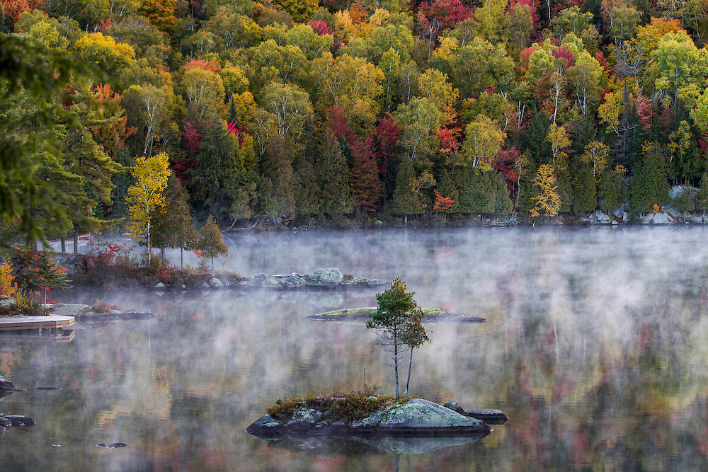 Early morning fog on Lac Joly in the autumn. Labelle, Quebec. © Allen McEachern.