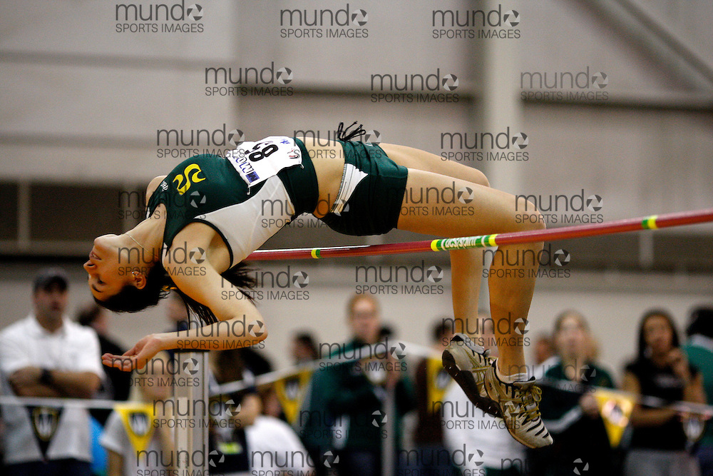 Windsor, Ontario ---14/03/09--- Jessica Massicotte of  Universite de Sherbrooke competes in the Women's high jump at the CIS track and field championships in Windsor, Ontario, March 14, 2009..Claus Andersen Mundo Sport Images