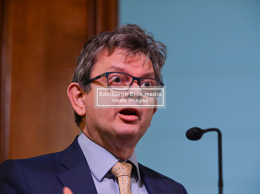 Pictured: Economist Sir Anton Muscatel speaks at the rally.<br /> <br /> Supporters for a People's Vote on Brexit held a Rally for Europe in Edinburgh on Saturday. Prominent speakers included Mike Russell, Labour MEP Catherine Stihler, economist Anton Muscatelli.<br /> <br /> © Dave Johnston / EEm