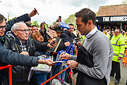 Derby County manager Frank Lampard signs autographs for the fans as he arrives at Ashton Gate Stadium ahead of the EFL Sky Bet Championship match between Bristol City and Derby County at Ashton Gate, Bristol, England on 27 April 2019.