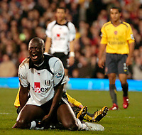 Photo: Ed Godden.<br /> Fulham v Arsenal. The Barclays Premiership. 29/11/2006.<br /> Fulham's Papa Bouba Diop shows his anger after being fouled.