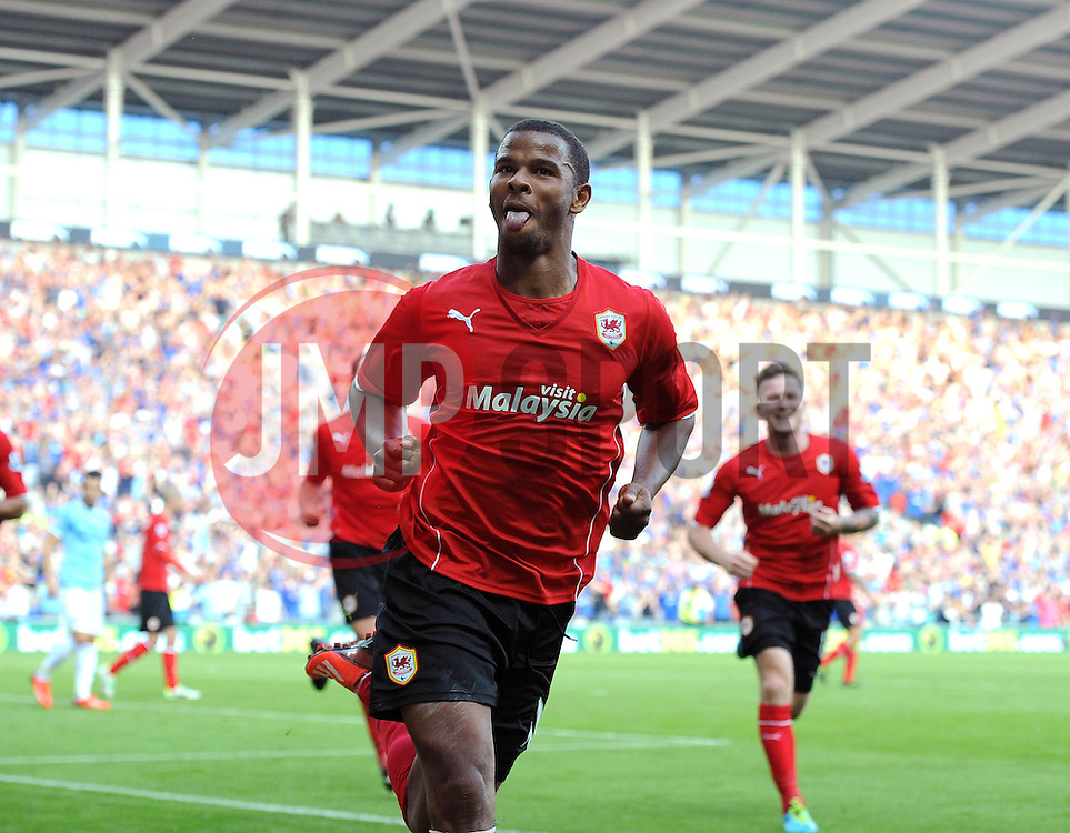 Cardiff City's Fraizer Campbell celebrates scoring to make it 2-1  - Photo mandatory by-line: Joe Meredith/JMP - Tel: Mobile: 07966 386802 25/08/2013 - SPORT - FOOTBALL - Cardiff City Stadium - Cardiff -  Cardiff City V Manchester City - Barclays Premier League
