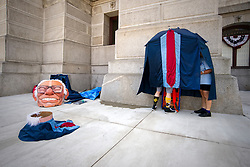 Protestors prepare a larger-then-life Bernie Sanders costume, ahead of a march towards the site of the Democratic National Convention, in Philadelphia, PA, USA, on July 24, 2016.