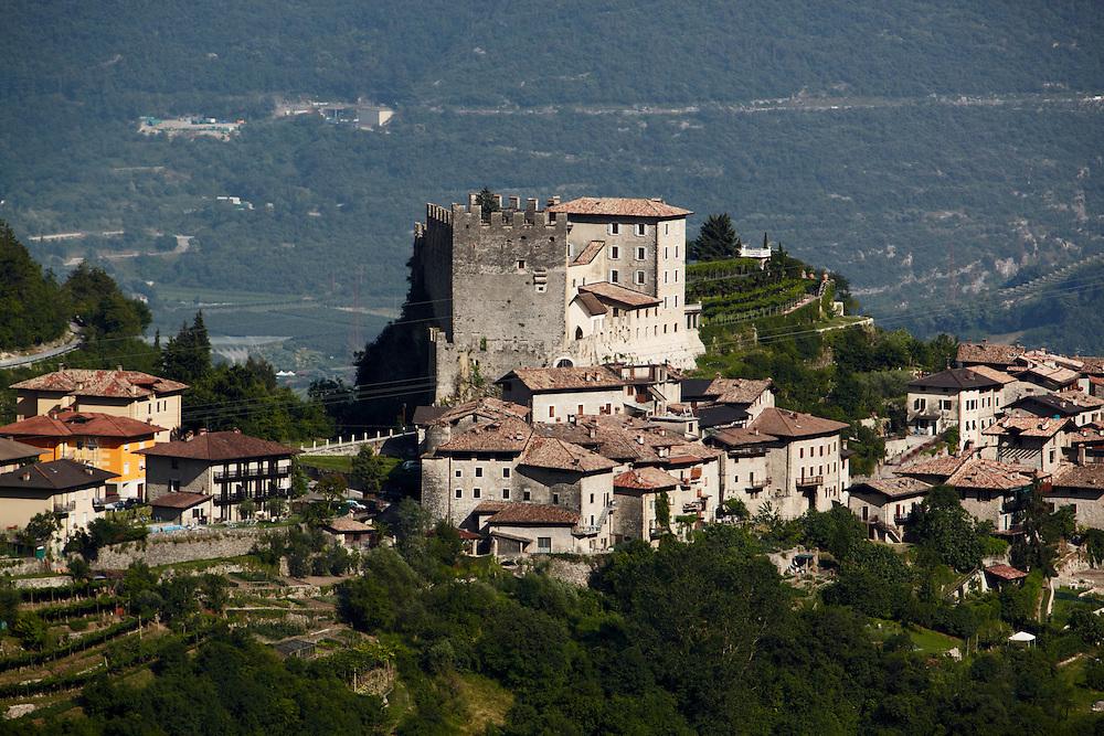 Tenno (TN) - Il Castello e il borgo di Frapporta visti dal Monte San Martino.
