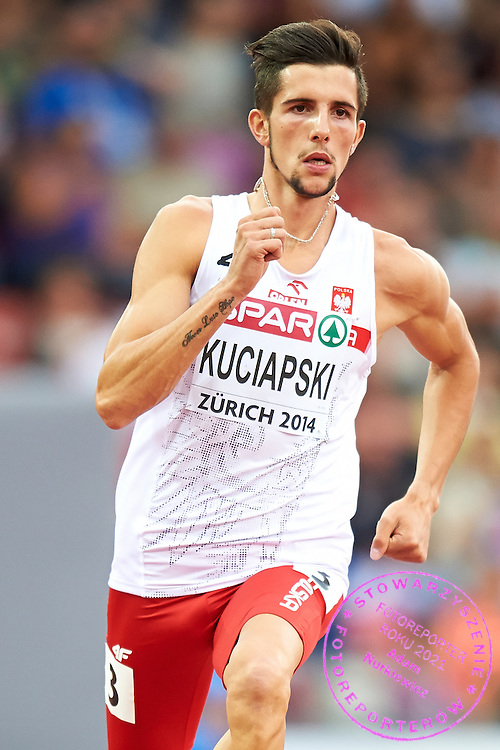 Artur Kuciapski from Poland competes in men's 800 meters qualification during the First Day of the European Athletics Championships Zurich 2014 at Letzigrund Stadium in Zurich, Switzerland.<br /> <br /> Switzerland, Zurich, August 12, 2014<br /> <br /> Picture also available in RAW (NEF) or TIFF format on special request.<br /> <br /> For editorial use only. Any commercial or promotional use requires permission.<br /> <br /> Photo by &copy; Adam Nurkiewicz / Mediasport