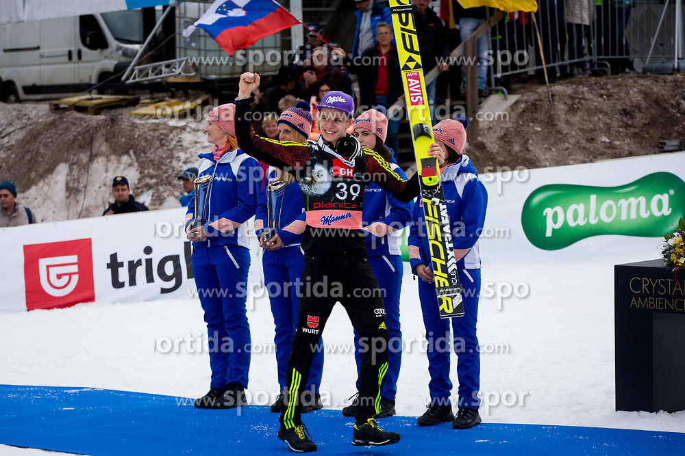 Andreas Wellinger (GER) during flower ceremony after the Ski Flying Hill Individual Competition on Day Two of FIS Ski Jumping World Cup Final 2017, on March 24, 2017 in Planica, Slovenia. Photo by Ziga Zupan / Sportida