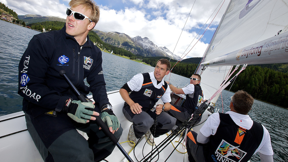 On board Team GAC Pindar. St Moritz Match Race 2010. World Match Racing Tour. St Moritz, Switzerland. 31st August 2010. Photo: Ian Roman/Subzero Images.