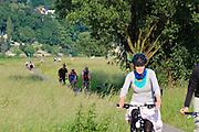 Radfahrer, Fahrradweg an der Elbe, Loschwitz, Dresden, Sachsen, Deutschland. .cyclists, bike path near river Elbe, Loschwitz, Dresden, Germany