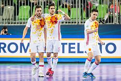 Rafa Usin of Spain, Adolfo of Spain and Bebe of Spain celebrates during futsal match between Kazakhstan and Spain in Semifinals of UEFA Futsal EURO 2018, on February 8, 2018 in Arena Stozice, Ljubljana, Slovenia. Photo by Ziga Zupan / Sportida