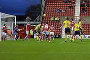 Scunthorpe United defender Jordan Clarke scores during the Sky Bet League 1 match between Swindon Town and Scunthorpe United at the County Ground, Swindon, England on 14 November 2015. Photo by Mark Davies.