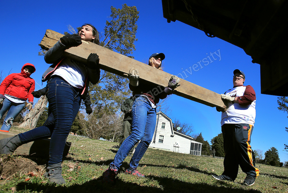 Angela Gucciardo, of Woodhaven, Libby Siecinski, of Livonia, and Ben Sobczak, of Bad Axe, hoist a beam into the back of a truck for transport. Chippokes Plantation State Park in Surry, Va., has been the destination for a state park preservation project for 10 Central Michigan University students this week on their Alternative Break. They have been doing garden work, trail and building maintenance and cleanup at the state park on the James River. At the end of the work day they meet in their residence, once a former slave cabin, to reflect on the highs and lows of the day's experience. Photo by Steve Jessmore/Central Michigan University
