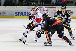 07.10.2016, Messestadion, Dornbirn, AUT, EBEL, Dornbirner Eishockey Club vs HC Orli Znojmo, 7. Runde, im Bild v. l. Tomas Plihal, (HC Orli Znojmo, #39), Kevin Schmidt, (Dornbirner Eishockey Club, #10) und Dustin Sylvester, (Dornbirner Eishockey Club, #19) // during the Erste Bank Icehockey League 7th round match between Dornbirner Eishockey Club and HC Orli Znojmo at the Messestadion in Dornbirn, Austria on 2016/10/07, EXPA Pictures © 2016, PhotoCredit: EXPA/ Peter Rinderer