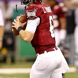 December 18, 2010; New Orleans, LA, USA; Troy Trojans quarterback Corey Robinson (6) during warm ups prior to kickoff of a game against the Ohio Bobcats in the 2010 New Orleans Bowl at the Louisiana Superdome.  Mandatory Credit: Derick E. Hingle