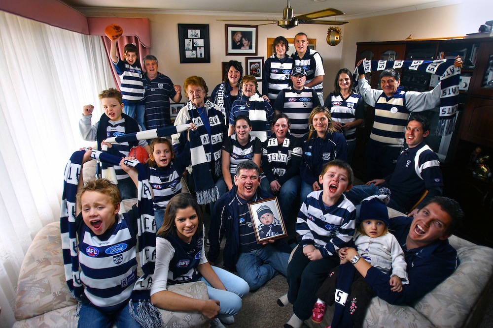 The Kiefer and Zan clan are mad Geelong footy fans, every one of them. Pic By Craig Sillitoe  04/07/2009 SPECIAL 000 melbourne photographers, commercial photographers, industrial photographers, corporate photographer, architectural photographers, This photograph can be used for non commercial uses with attribution. Credit: Craig Sillitoe Photography / http://www.csillitoe.com<br />