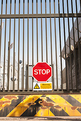 Vehicle entrance to prison, HMP Parc, Bridgend, South Wales