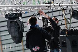 Workers at preparing Ice in Arena Stozice for World Championship Div. I on April 10, 2012 at SRC Stozice, Ljubljana, Slovenia. (Photo By Matic Klansek Velej / Sportida.com)