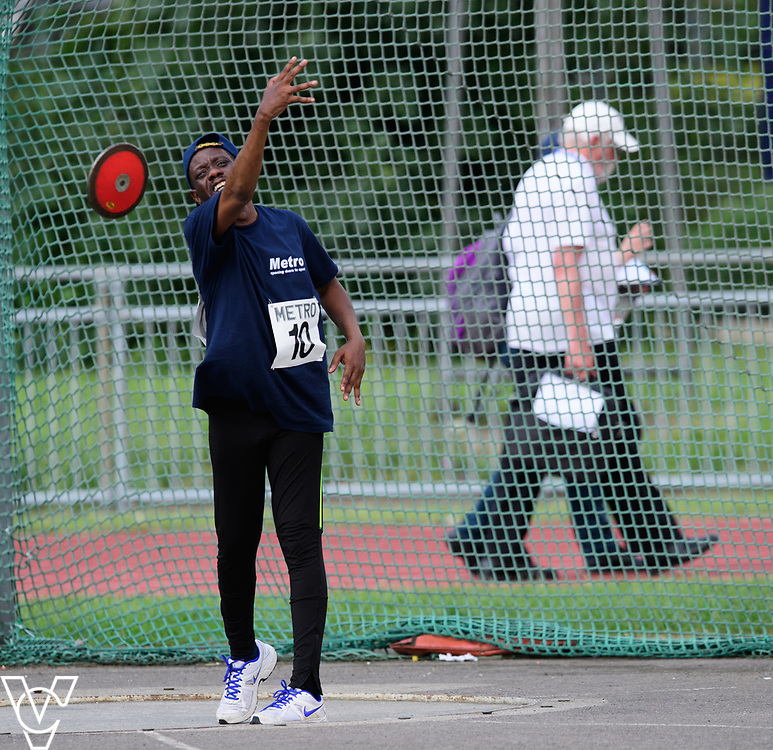 Metro Blind Sport's 2017 Athletics Open held at Mile End Stadium.  Discus.  William Safo<br /> <br /> Picture: Chris Vaughan Photography for Metro Blind Sport<br /> Date: June 17, 2017