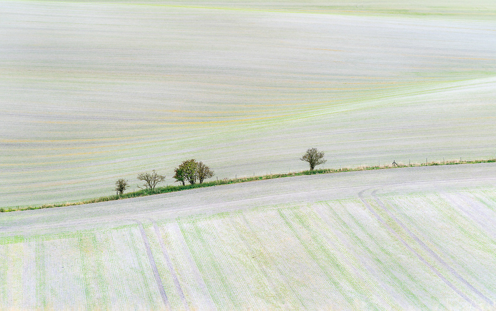 A field near to the village of Pitstone photographed looking down from the top of Ivinghoe Beacon.