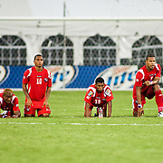 Panama players pray as they look on during the penalty kick segment of the concacaf gold cup quarterfinals Sunday, June 19, 2011 at RFK Stadium in Washington DC.
