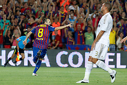 17.08.2011, Camp Nou, Barcelona, ESP, Supercup 2011, FC Barcelona vs Real Madrid, im Bild FC Barcelona's Andres Iniesta celebrate goal in presence of  Real Madrid's Pepe (r) dejected during Spanish Supercup 2nd match.August 17,2011. EXPA Pictures © 2011, PhotoCredit: EXPA/ Alterphotos/ Acero +++++ ATTENTION - OUT OF SPAIN / ESP +++++