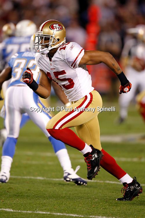 San Francisco 49ers wide receiver Michael Crabtree (15) goes out for a pass during the NFL week 15 football game against the San Diego Chargers on Thursday, December 16, 2010 in San Diego, California. The Chargers won the game 34-7. (©Paul Anthony Spinelli)