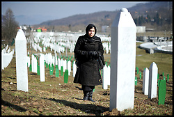 Baroness Warsi visits the Potocari Memorial Centre, Srebrenica, to honour the victims of the Srebrenica Massacre in 1995, as part of Project Maja in Bosnia and Herzegovina, Sunday March 4, 2012 . Photo By Andrew Parsons/i-images