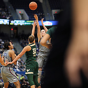 HARTFORD, CONNECTICUT- JANUARY 10: Katie Lou Samuelson #33 of the Connecticut Huskies shoots for three defended by Kitija Laksa #33 of the South Florida Bulls during the the UConn Huskies Vs USF Bulls, NCAA Women's Basketball game on January 10th, 2017 at the XL Center, Hartford, Connecticut. (Photo by Tim Clayton/Corbis via Getty Images)